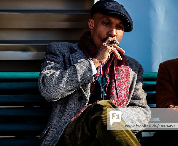 FLORENCE,  Italy- January 11 2019: Men on the street during the Pitti 95.