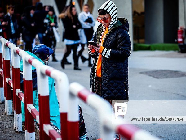 FLORENCE,  Italy- January 11 2019: Anna Laura Facchini on the street during the Pitti 95.