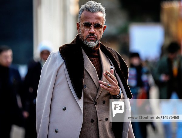 FLORENCE  Italy- January 11 2019: Seyhmus Can on the street during the Pitti 95.