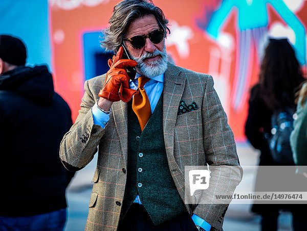 FLORENCE,  Italy- January 11 2019: Franco Mazzetti on the street during the Pitti 95.