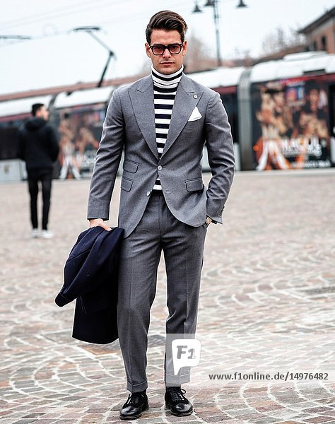 FLORENCE  Italy- January 8 2019: Frank Gallucci outfit Bottega Dalmut shoes Barbanera glasses Movitra on the street during the Pitti 95.