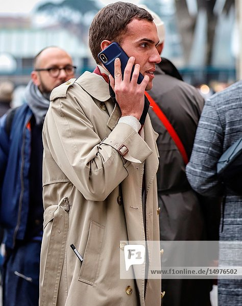FLORENCE  Italy- January 8 2019: Filippo Cirulli on the street during the Pitti 95.