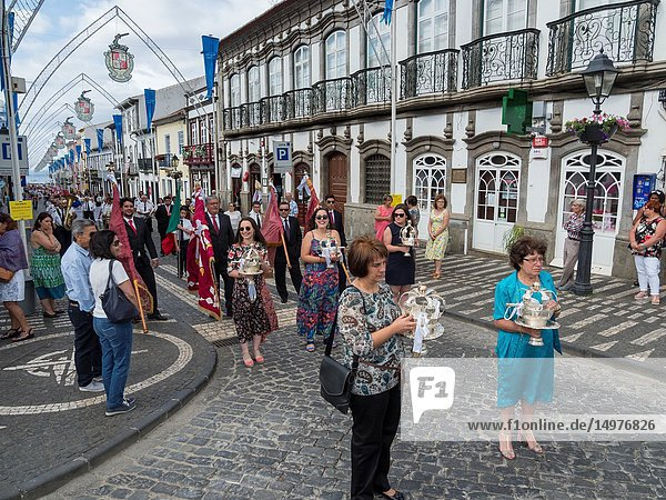 Church going of the local clubs. Religious and Folk festival Sanjoaninas  the biggest festival in the Azores. Capital Angra do Heroismo  listed as UNESCO World Heritage. Terceira Island  an island in the Azores (Ilhas dos Acores) in the Atlantic ocean. The Azores are an autonomous region of Portugal. Europe  Portugal  Azores.