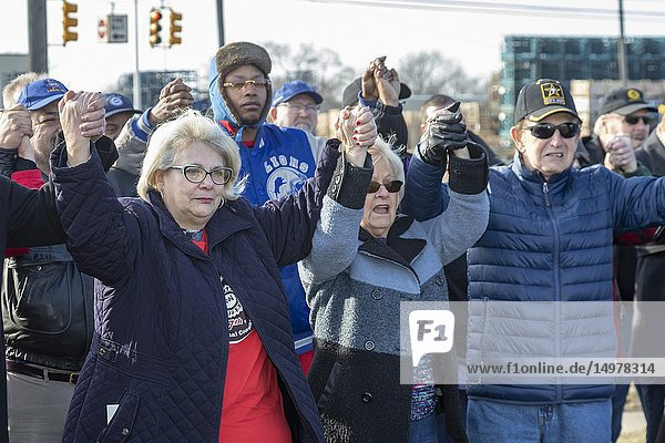 Warren  Michigan USA - 22 February 2019 - The United Auto Workers union holds a prayer vigil at General Motors' Warren Transmission plant to protest the planned closure of the facility. GM says it will close five factories in the United States and Canada  putting thousands out of work.