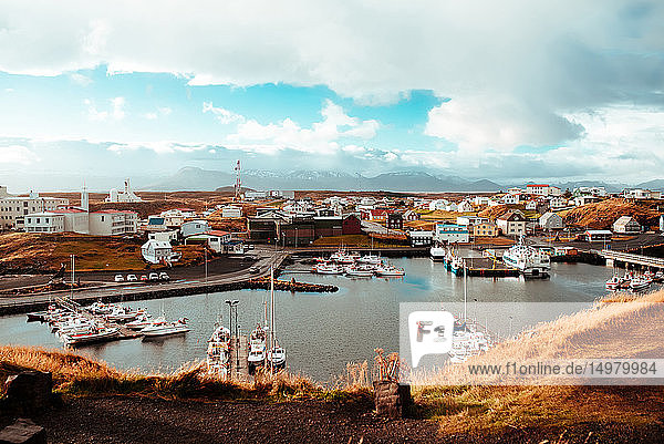 Boats moored in harbour  Stykkishólmur  Snafellsnes- og Hnappadalssysla  Iceland