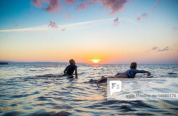 Surfers gliding in sea at sunset  Pagudpud  Ilocos Norte  Philippines