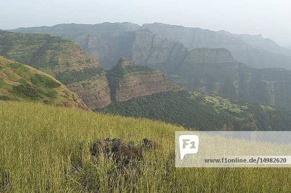 Landscape view of the beautiful Sahayadri mountain ranges of western Ghats.