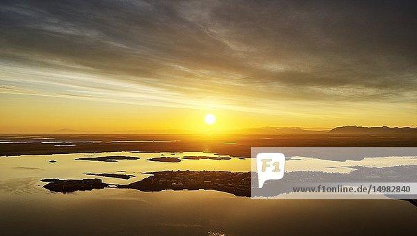 Sunset  Borgarnes  Western Iceland.