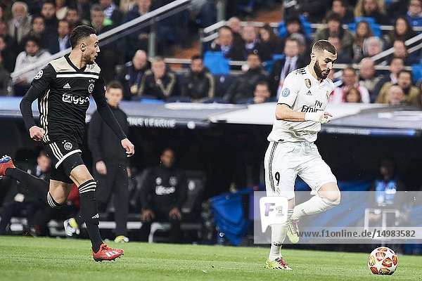 Karim Benzema (forward  Real Madrid) in action during the UEFA Champions League Round of 16 Second Leg match between Real Madrid and AFC Ajax at Santiago Bernabeu on March 5  2019 in Madrid  Spain
