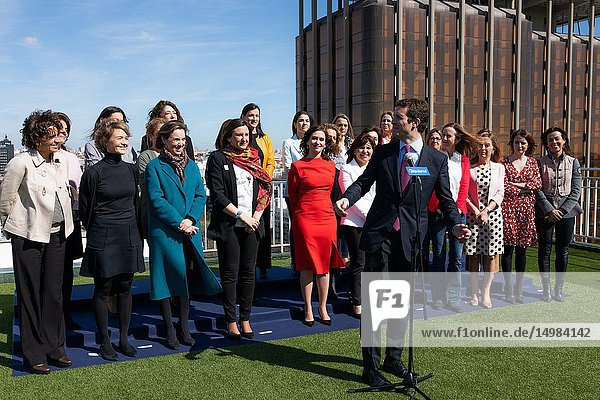 The president of the PP  Pablo Casado  seen talking about the event with regional and municipal PP candidates on the occasion of International Women's Day.