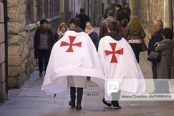 TERUEL ARAGON SPAIN on February 16  2019: The Wedding of Isabel de Segura commemorates the romance of the Teruel Lovers. Locals participate by recreating the mediaeval ambience of the Thirteenth Century.