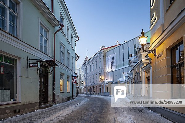 Winter dawn in the old town of Tallinn  Estonia.