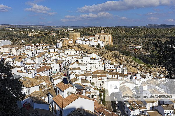 Setenil de las Bodegas  Cadiz Province  Spain. Commonly known simply as Setenil. Overall view. In the centre  remains of the castle built during the 12th and 13th centuries. To the left  the church of Nuestra Señora de la Encarnación built during the 15th and 16th centuries on the site of the old mosque.