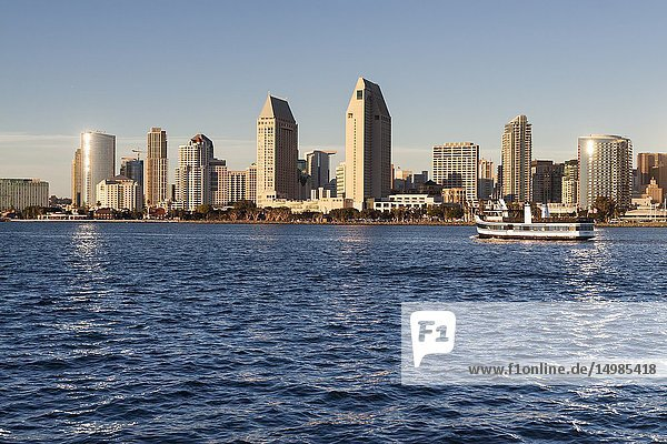 Panoramic view of downtown San Diego from Coronado Island. San Diego  California  USA.