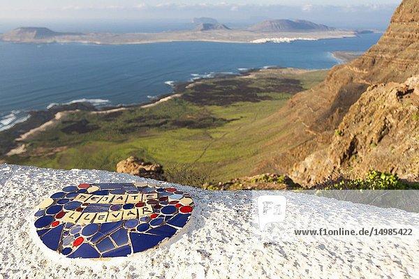 La Graciosa Island panorama. Mirador del Rio,  Lanzarote. Spain.