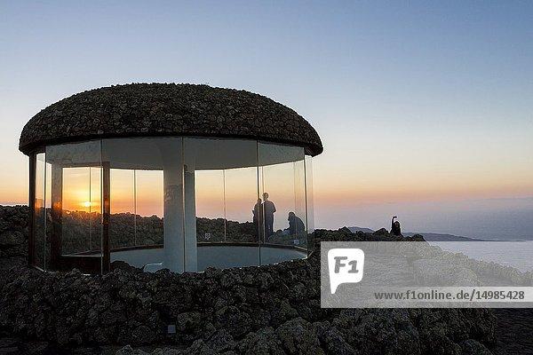 Architectural structure created in the volcanic lava. Mirador del Rio  Lanzarote. Spain.
