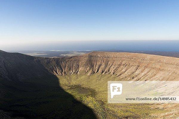 Wonderful aerial views from the white caldera. Timanfaya,  Lanzarote. Spain.