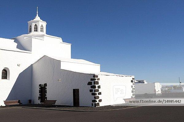 White candor of the church Ermita de los Dolores. Mancha Blanca  Lanzarote. Spain.