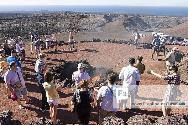 Natural attractions for tourists. Timanfaya  Lanzarote. Spain.