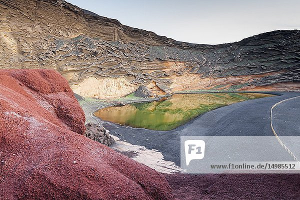 The spectacular contrast of colors of the green lake. El golfo  Lanzarote. Spain.