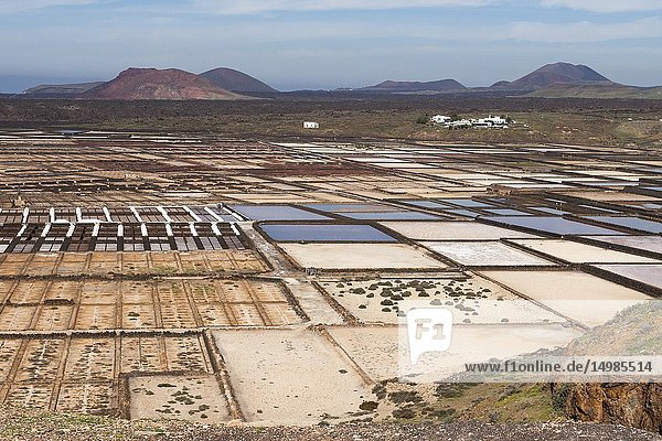 Panorama of the saltworks created by man. Salinas de Janubio  Lanzarote. Spain.