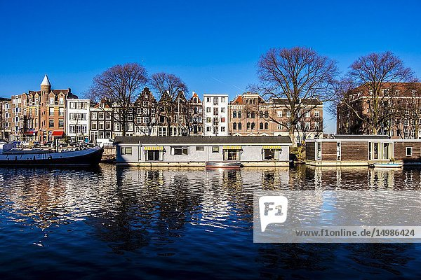 House boats in Amsterdam-East  the Netherlands  Europe.