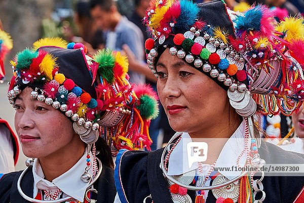 China  Yunnan  Xishuangbanna district  women festival in the Hani ethnic group village.