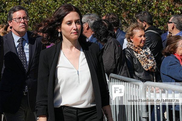 Isabel Diaz-Ayuso seen attending the event of the The Association of Victims of Terrorism (AVT) in the El Retiro Park in memory of the victims of the attacks of March 11  2004.