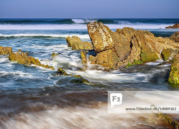 Waves in blur motion at Atxabiribil reefs. Basque Country  Spain.