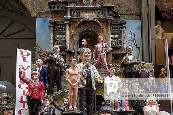 Naples Campania Italy. Statues figurines of the Christmas Nativity Scene in the artisan workshops of Via San Gregorio Armeno.