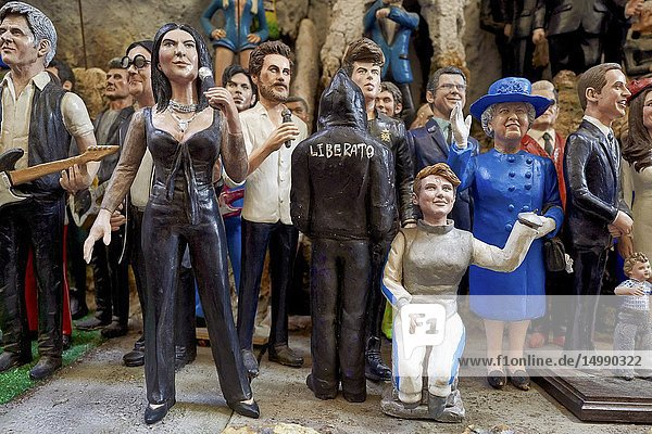 Naples Campania Italy. Statues figurines of the Christmas Nativity Scene in the artisan workshops of Via San Gregorio Armeno.