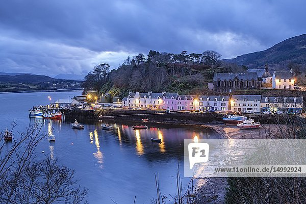 Colorful houses on the pier  Portree (Port Rìgh)  Isle of Skye  Highlands  Scotland  United Kingdom.