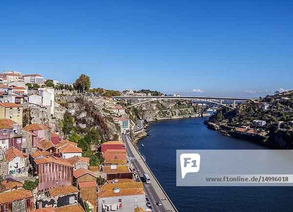 Douro River  elevated view  Porto  Portugal.