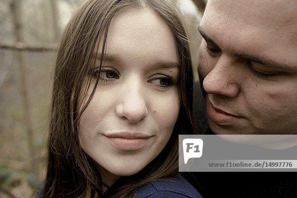 Headshot of couple  thoughtful emotion  belonging together  in Cottbus  Brandenburg  Germany