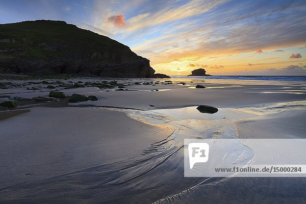 Portreath Beach on the North Coast of Cornwall  captured shortly before sunset in late May.