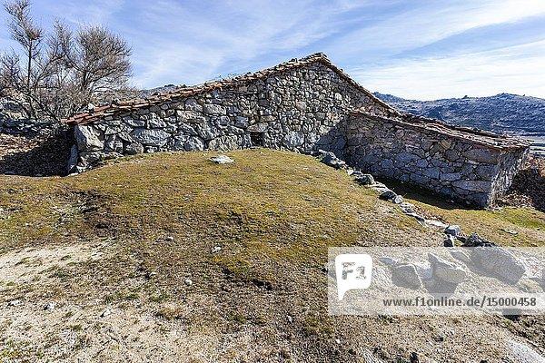 Ruins of rural house at Dehesa meadows. El Barraco. Avila. Spain. Europe.
