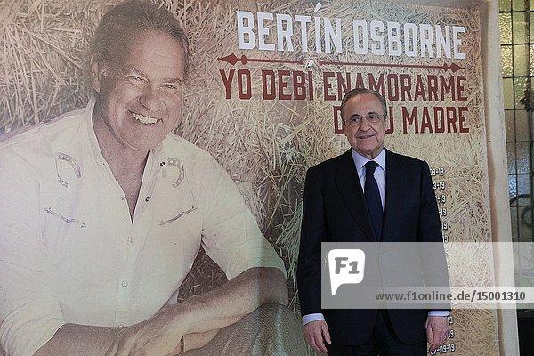 Florentino Perez seen at the photocall prior to the concert. Bertín Osborne at the Teatro Calderón in Madrid where he presents `Yo debí enamoarme de tu madre'  his new album.