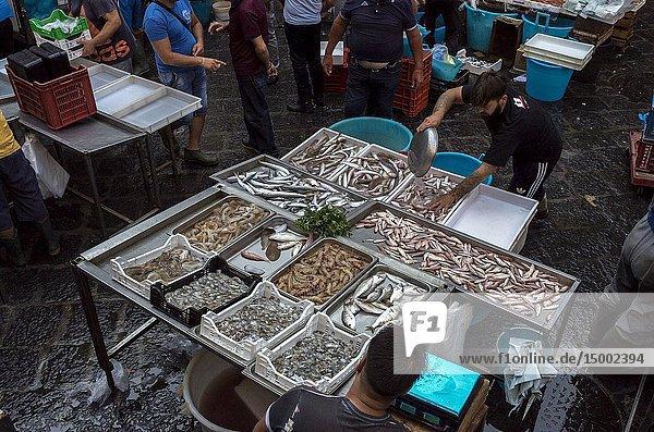 Pescheria  Fish Market  Alonzo di Benedetto square  Catania  Sicily  Italy.