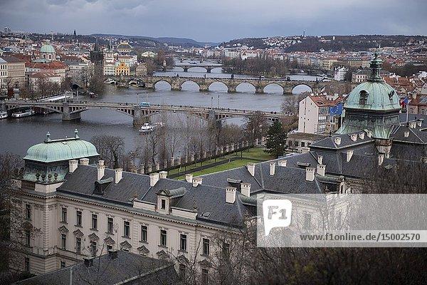 Hanavsky Pavillion view  bridges over Vltava River  Prague  Czech Republic.