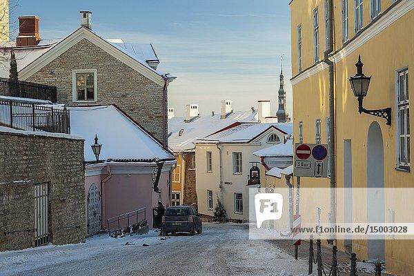 Winter morning in Tallinn old town  Estonia.
