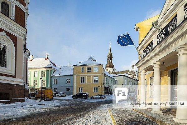 Winter afternoon in Tallinn old town  Estonia.