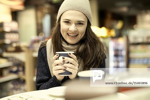 Woman at coffee shop  in Munich  Germany.