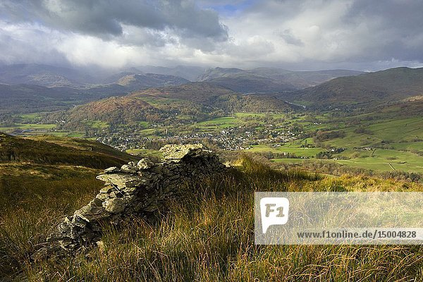 The view from Wansfell over the town of Ambleside in the Lake District National Park  Cumbria  England.