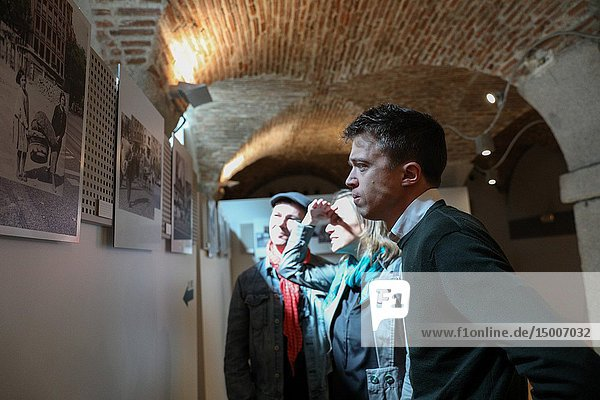 Iñigo Errejon (R) seen looking at the photographs of the exhibition. The candidate of 'Mas Madrid' to the Community  Iñigo Errejon  visits the exhibition 'Madrid  how good you are!' from photographer Javier Marquerie.