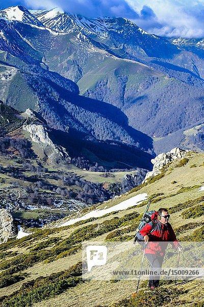 Hiking in a mountain area. Bistruey peak route from Cucayo village. Vega de Liebana  Cantabria  Spain  Europe.