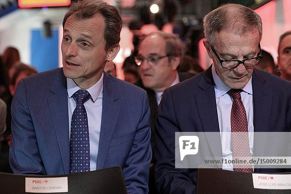 The Ministers Pedro Duque(L) and José Guirao (R) seen attending the event to presents the electoral campaign of the Socialists.