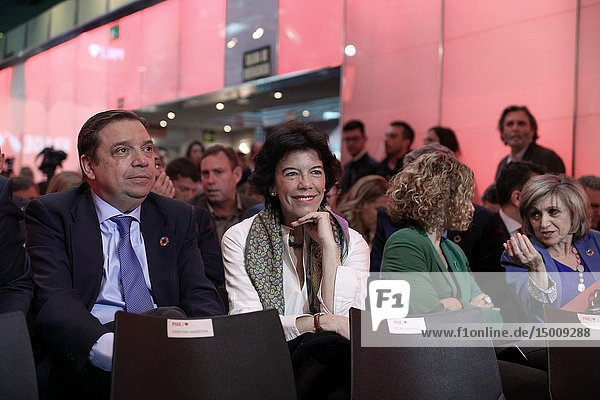 The Ministers Luis Planas (L)  Isabel Celaá  Meritxell Batet and María Luisa Carcedo(R) seen attending the event to presents the electoral campaign of the Socialists.