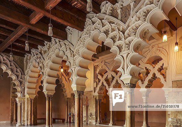 Zaragoza  Spain - Jan 2019: Moorish-Taifa north side halls of Aljaferia Palace.