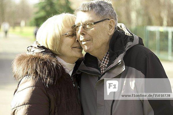 Old senior couple enjoying togetherness  in Cottbus  Brandenburg  Germany.