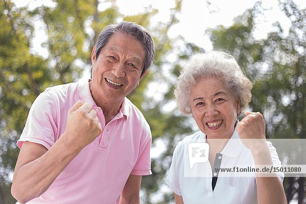 Elderly couple outdoors  healthy life